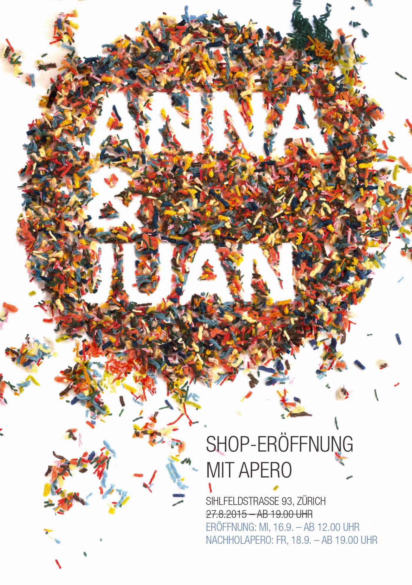 Anna & Juan – Shop Opening – Flyer Front