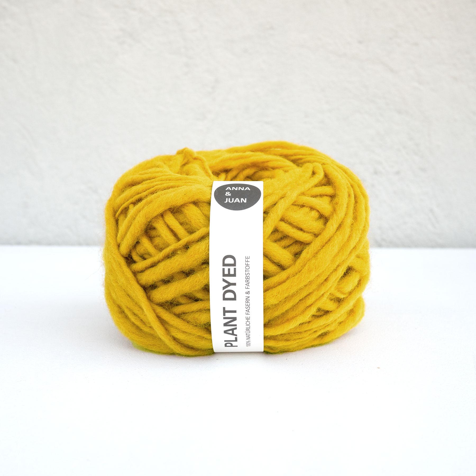 Anna & Juan Wolle «Plant Dyed» – Merino Handgesponnen – Super Bulky – Gelb